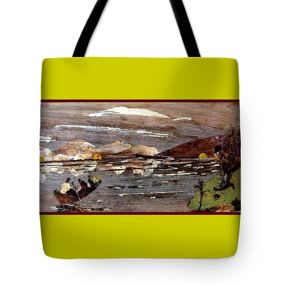 Boating Scene Tote Bag featuring the mixed media Boating In River by Basant Soni