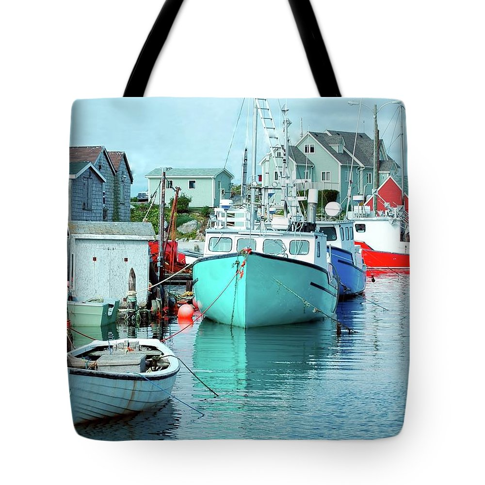 Boat Tote Bag featuring the photograph Boating In The Village by Kathleen Struckle