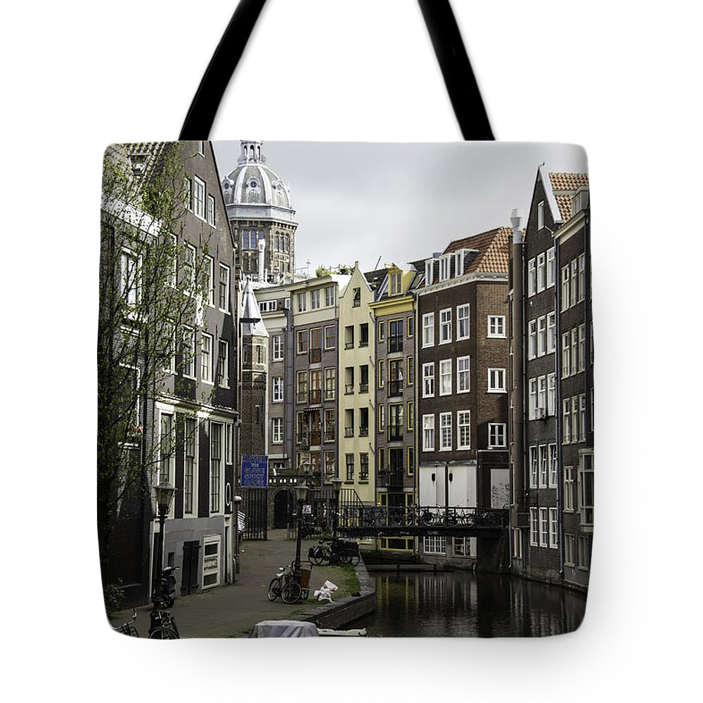 2014 Tote Bag featuring the photograph Boats In Canal Amsterdam by Teresa Mucha
