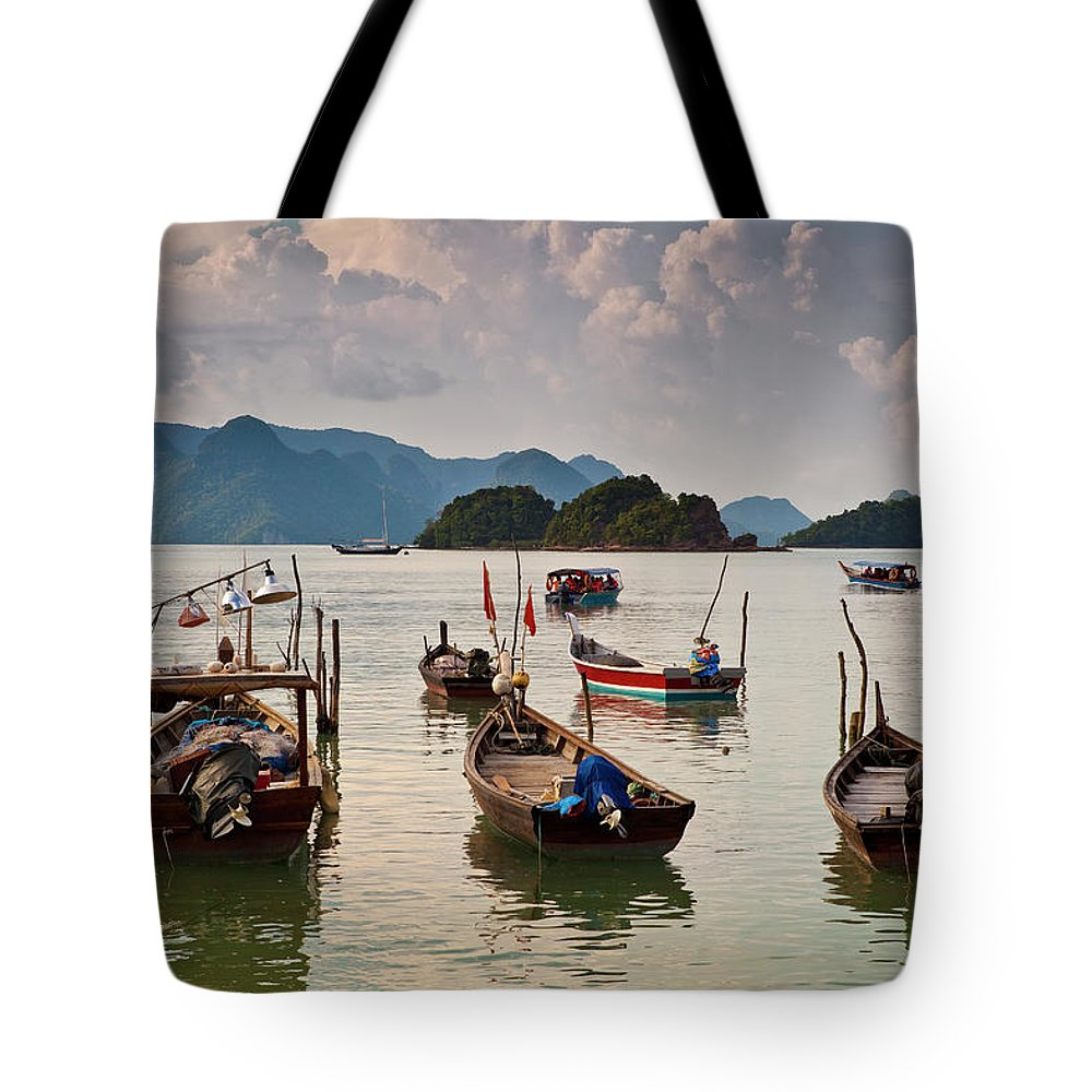Southeast Asia Tote Bag featuring the photograph Boats Moored In Sea, Teluk Baru by Richard I'anson