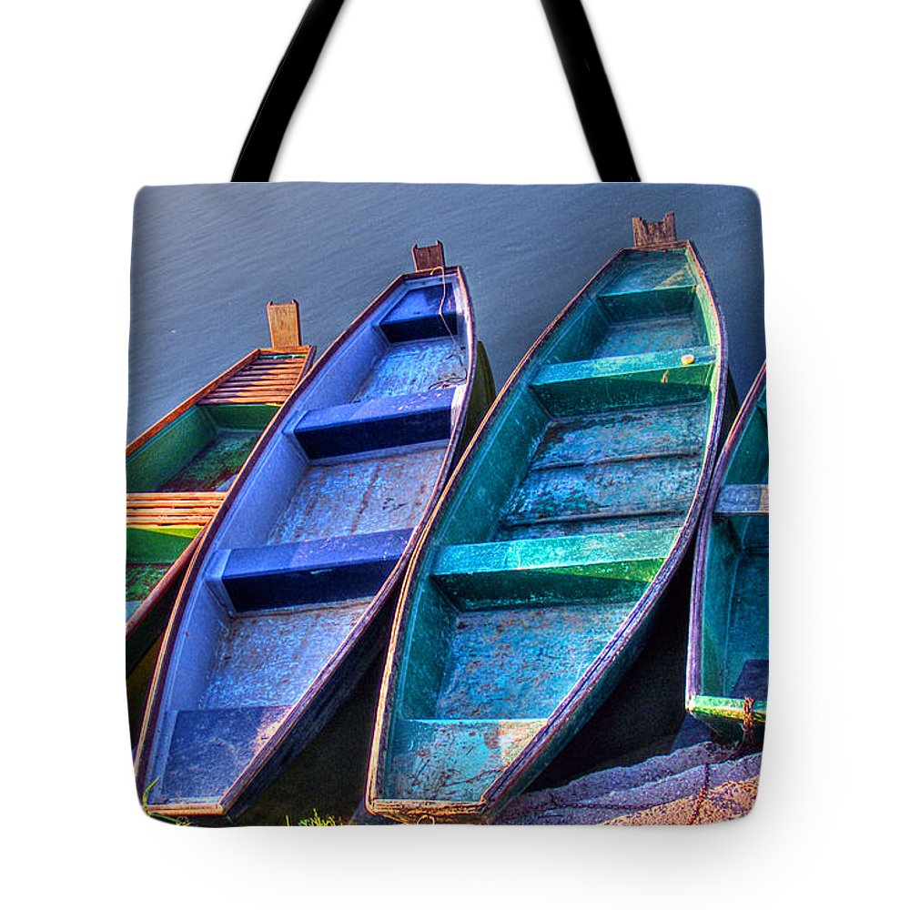 Boat Tote Bag featuring the photograph Boats On River by Nina Ficur Feenan