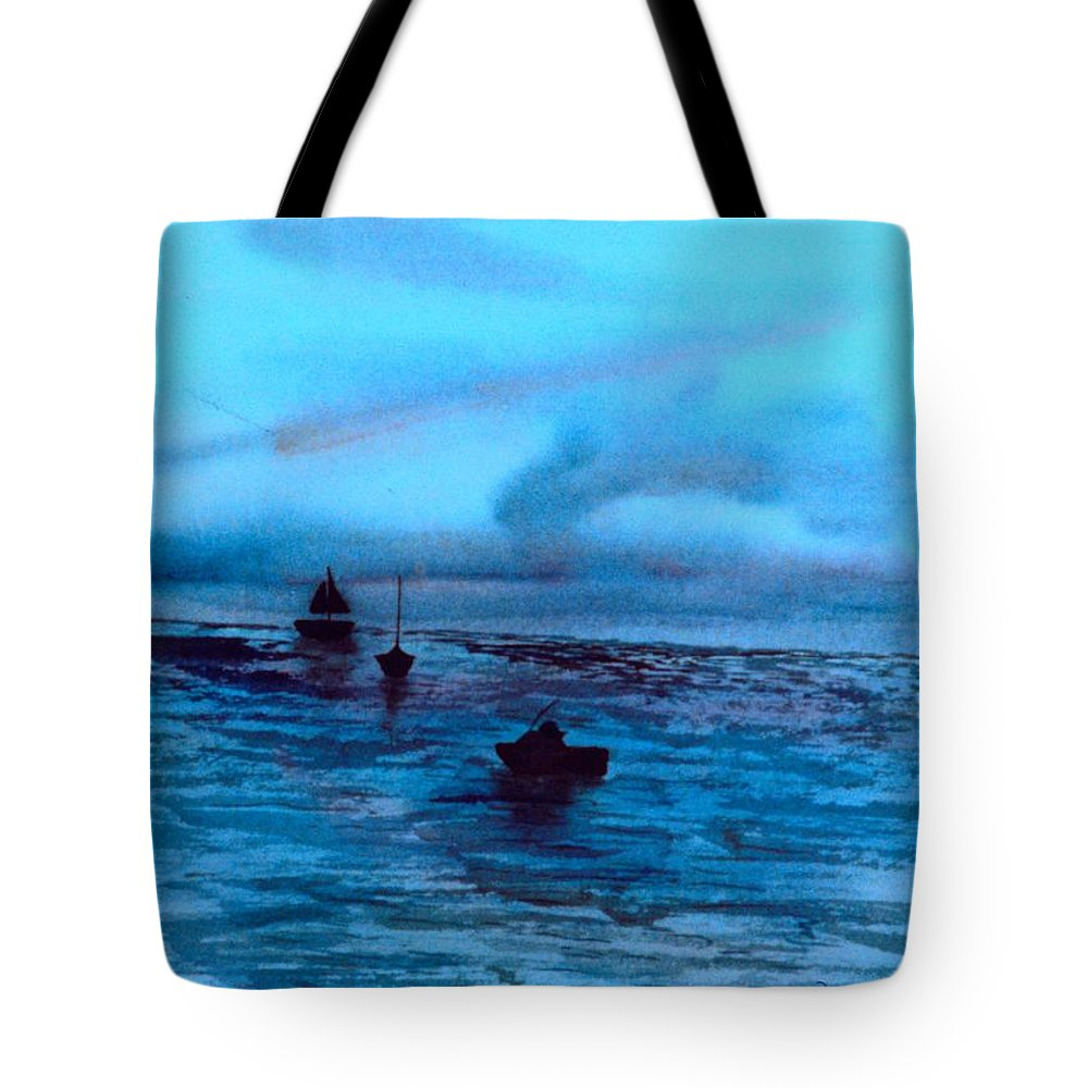 Boats Tote Bag featuring the painting Boats On The Chesapeake Bay by Kendall Kessler