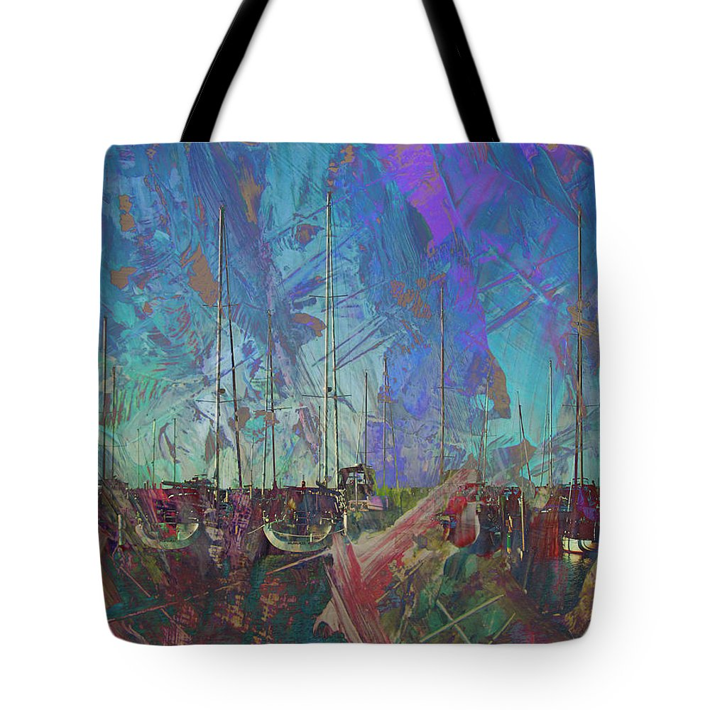 Marina Tote Bag featuring the digital art Boats W Painted Abstract by Anita Burgermeister