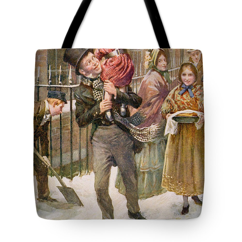 Charles Dickens Tote Bag featuring the painting Bob Cratchit And Tiny Tim by Harold Copping