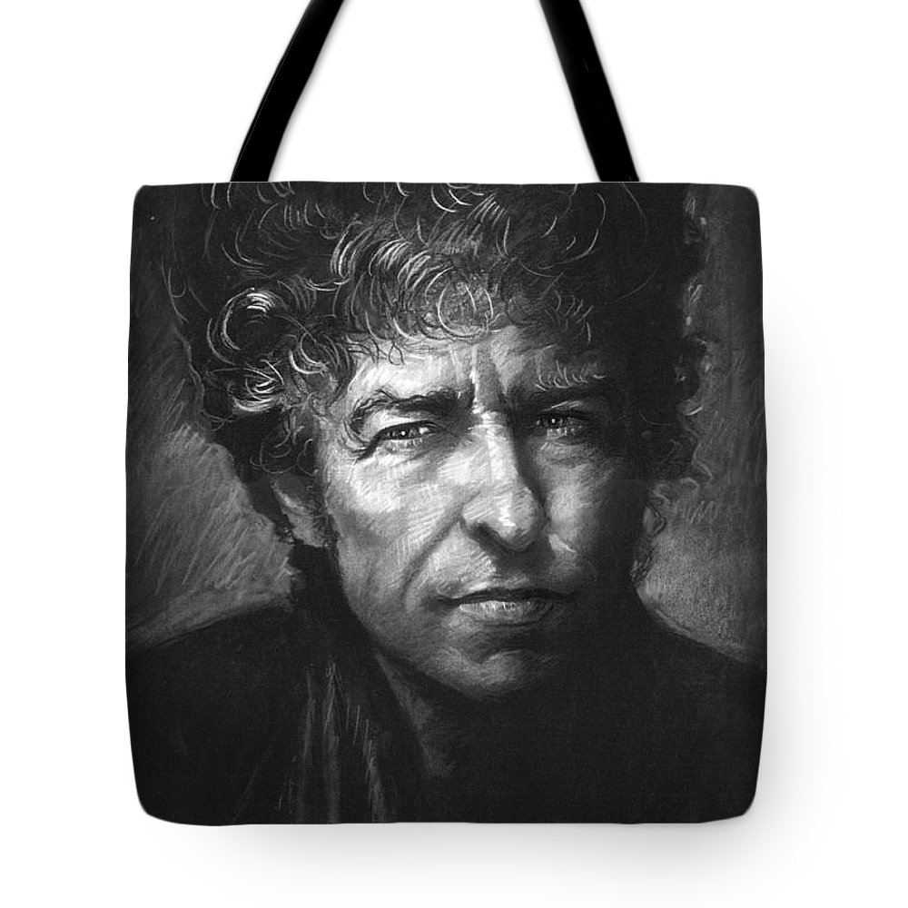 American Singer Tote Bag featuring the drawing Bob Dylan by Viola El