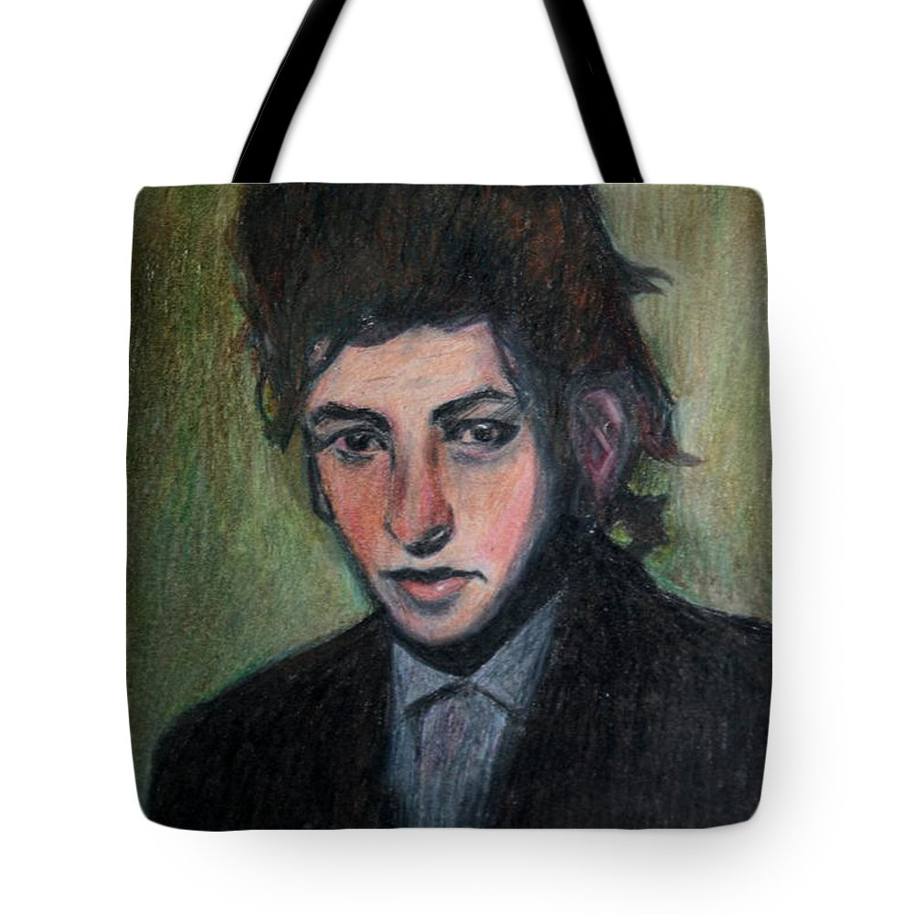 Bob Dylan Tote Bag featuring the drawing Bob Dylan Portrait In Colored Pencil by Neal Eslinger