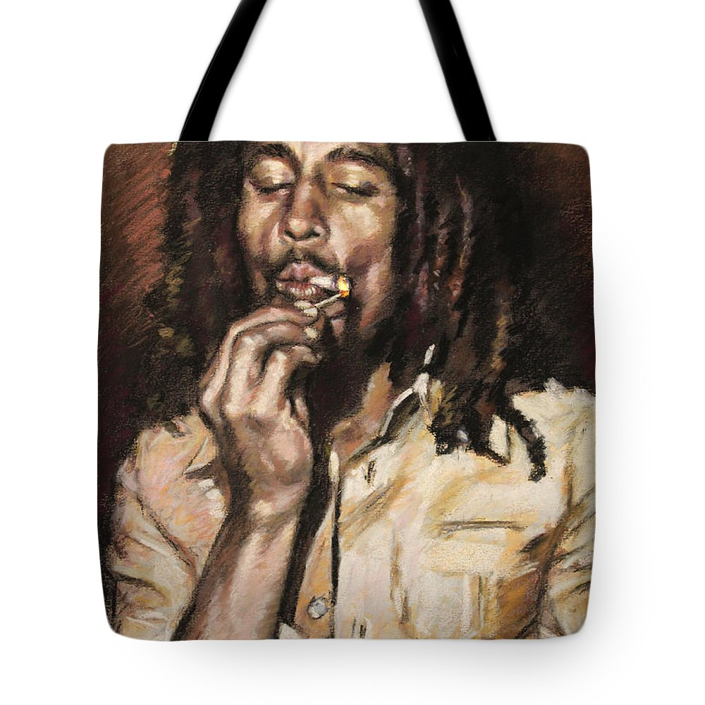 Jamaican Singer Tote Bag featuring the drawing Bob Marley by Viola El