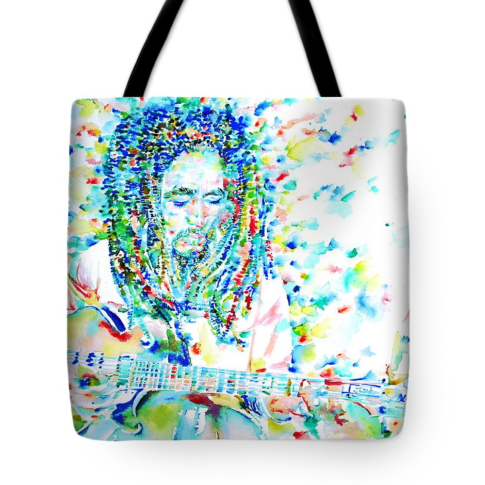 Bob Tote Bag featuring the painting Bob Marley Playing The Guitar - Watercolor Portarit by Fabrizio Cassetta