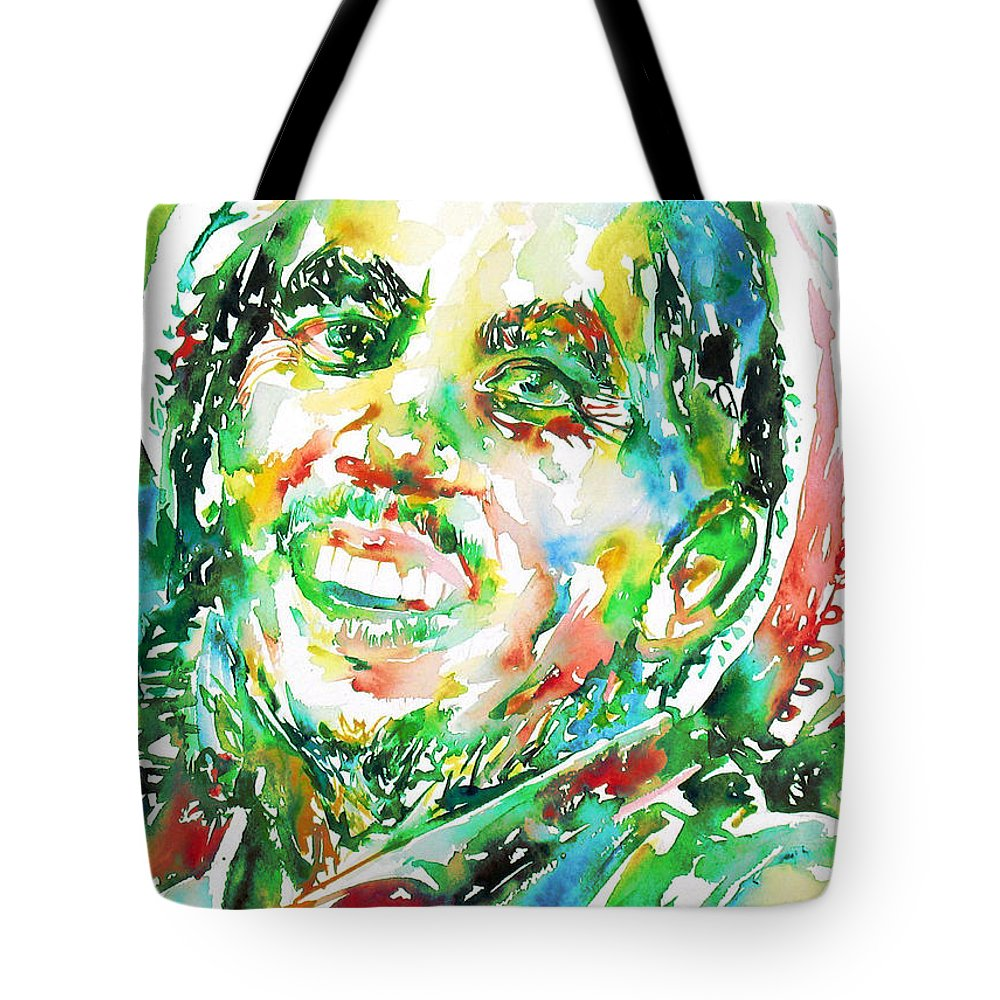 Bob Tote Bag featuring the painting Bob Marley Watercolor Portrait.2 by Fabrizio Cassetta