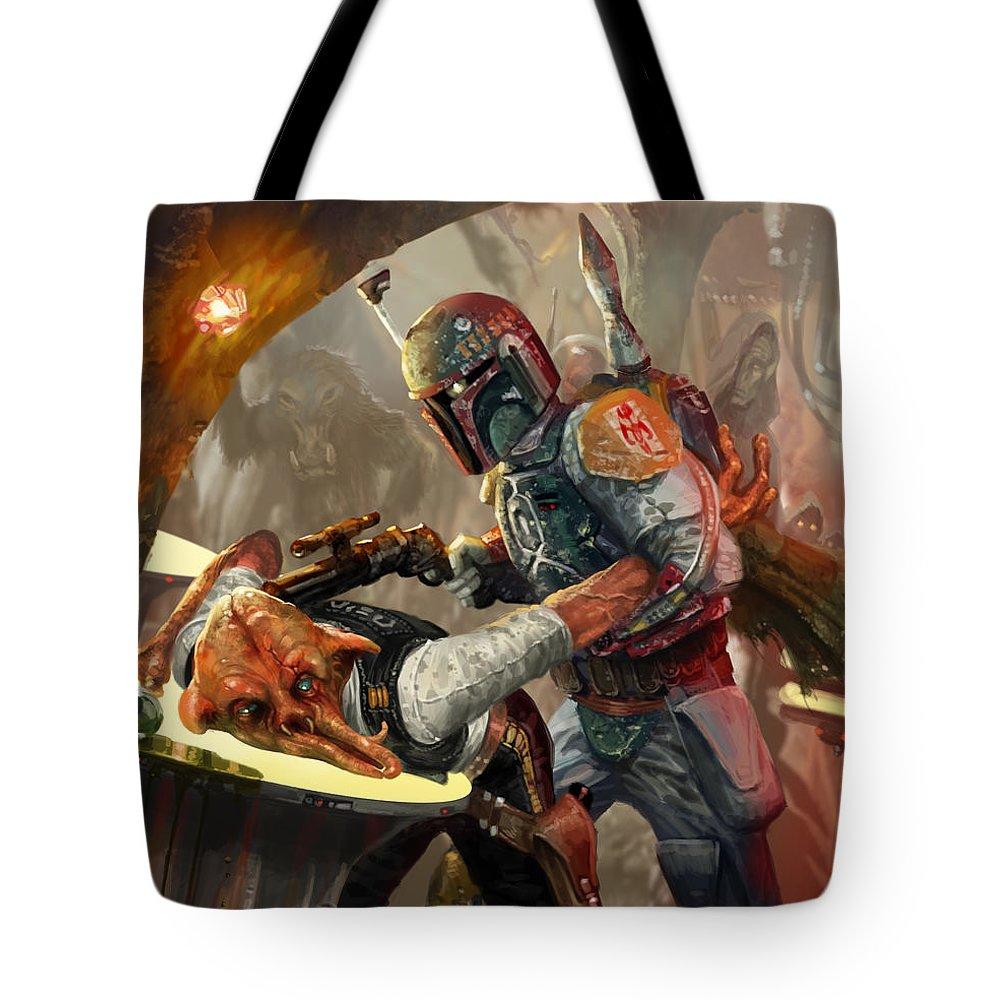Star Wars Tote Bag featuring the digital art Boba Fett - Star Wars The Card  Game 267638acc31b6