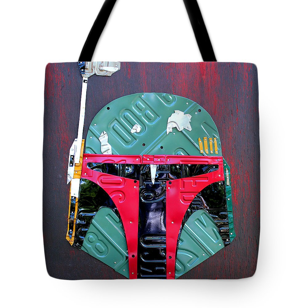 Boba Fett Tote Bag featuring the mixed media Boba Fett Star Wars Bounty Hunter Helmet Recycled License Plate Art by Design Turnpike