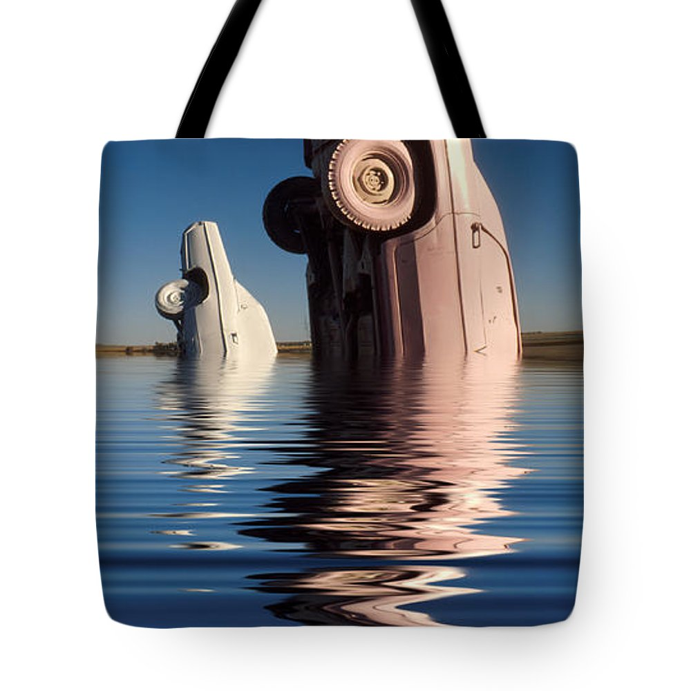 Cadillac Tote Bag featuring the photograph Bobbing For Carburetors by Jerry McElroy