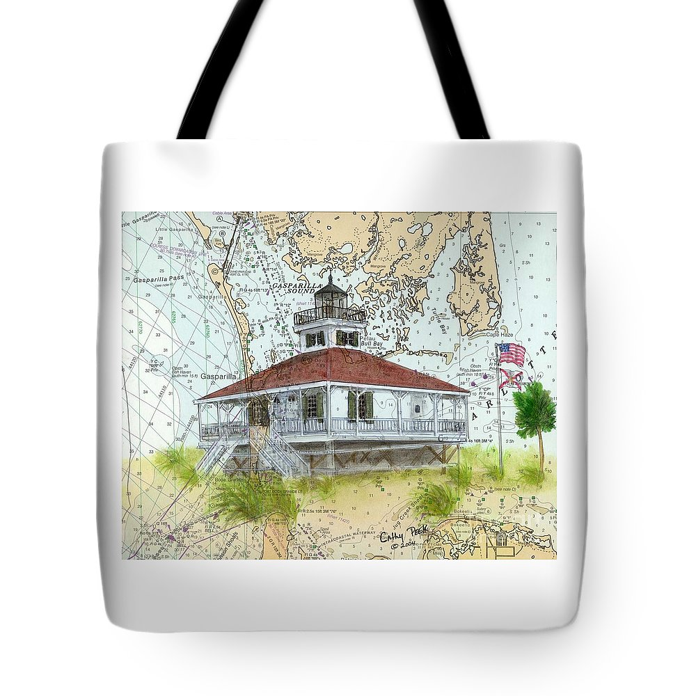 Boca Tote Bag featuring the painting Boca Grande Lighthouse Fl Nautical Chart Map Art Cathy Peek by Cathy Peek