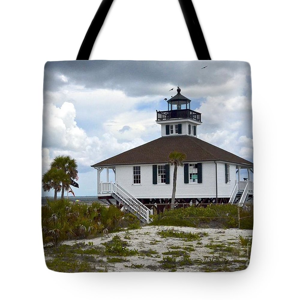 Lighthouse Tote Bag featuring the photograph Boca Grande Lighthouse II by Carol Bradley