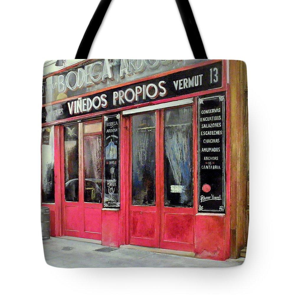 Bodega Tote Bag featuring the painting Bodega Ardosa by Tomas Castano