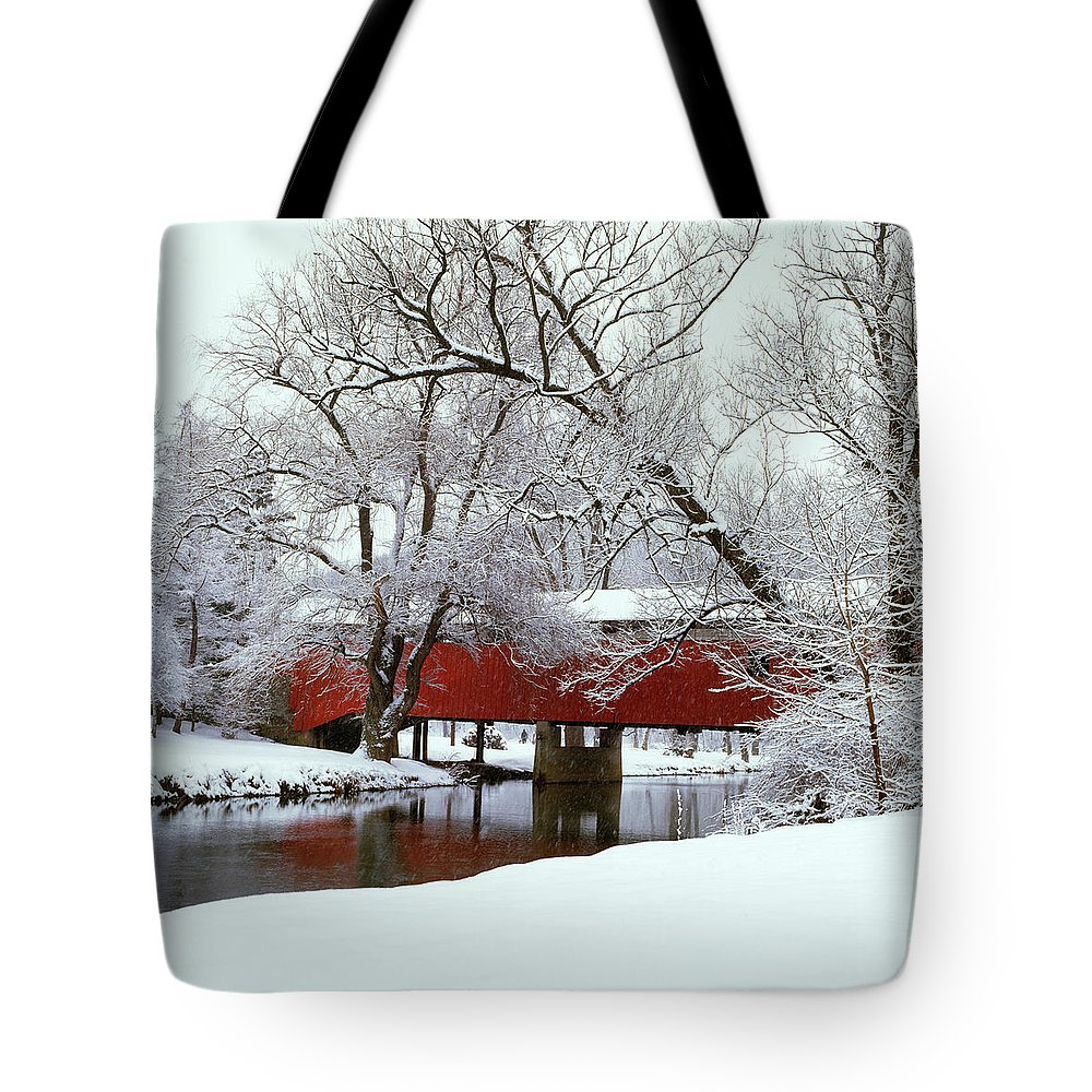 Photography Tote Bag featuring the photograph Bogarts Bridge Red Covered Bridge by Vintage Images