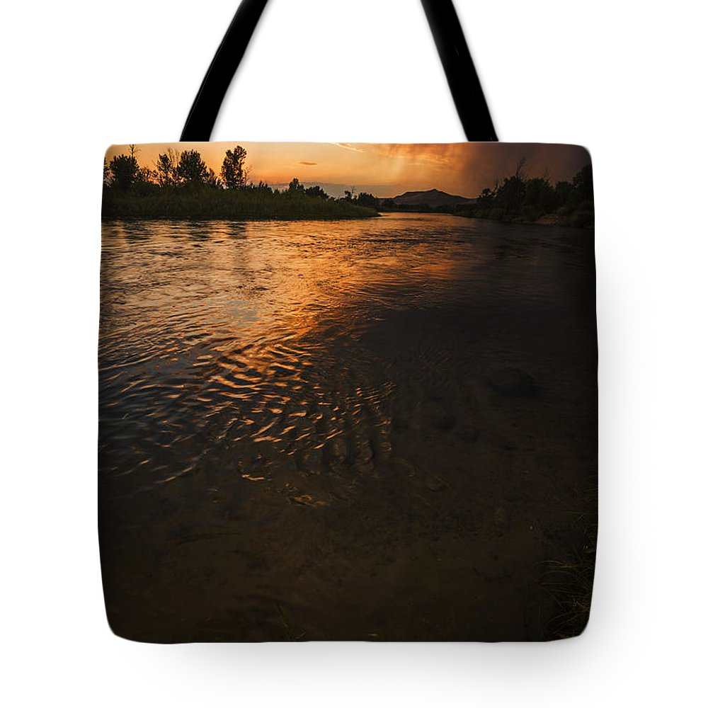 Boise River Tote Bag featuring the photograph Boise River Dramatic Sunset by Vishwanath Bhat