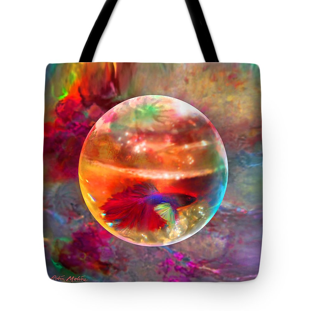 Fish Bowl Digital Art Tote Bags