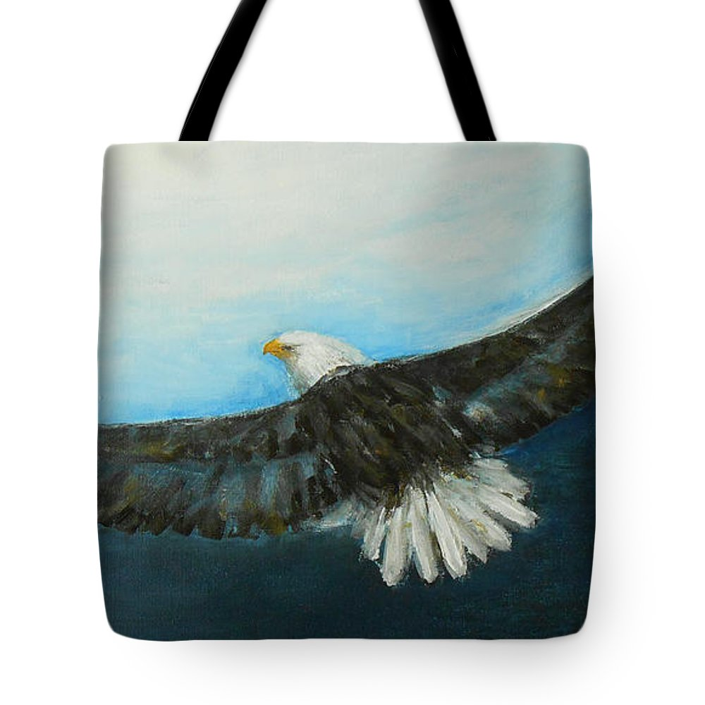 Eagle Tote Bag featuring the painting Bold And Beautiful by Jane See