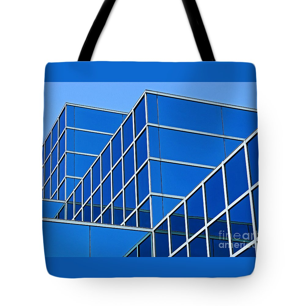 Building Tote Bag featuring the photograph Boldly Blue by Ann Horn