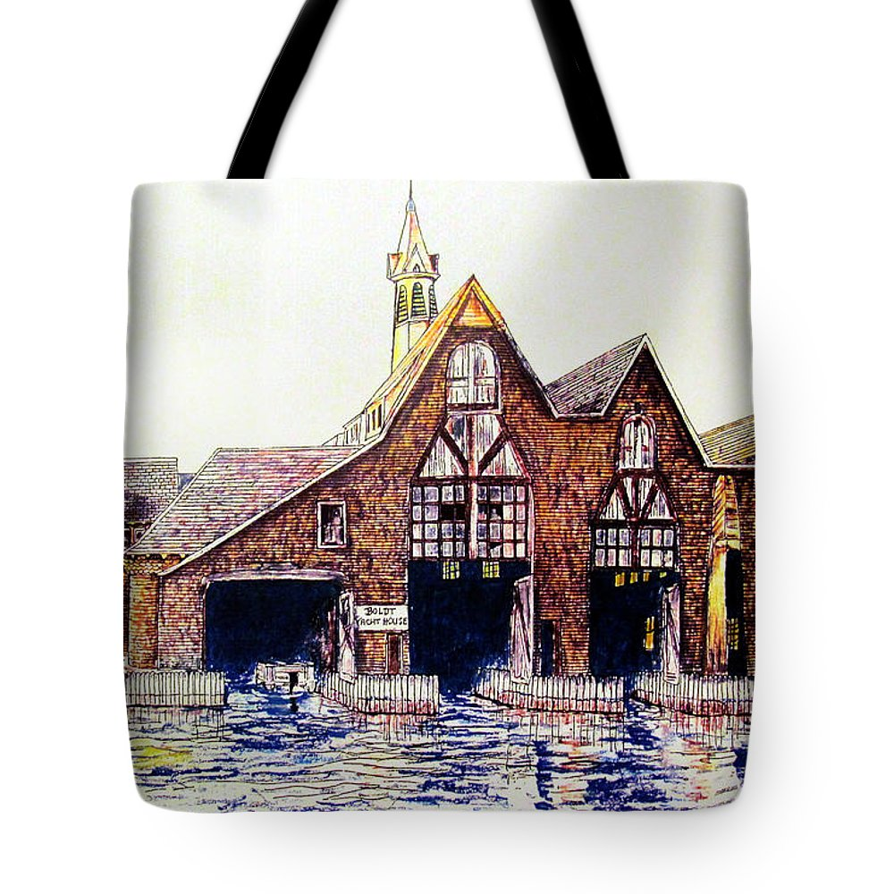 Thousand Island Poster Tote Bag featuring the drawing Boldt Castle Boat House by Philip Lee