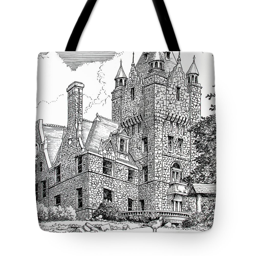 Historic Poster Tote Bag featuring the drawing Boldt Castle With Seagull by Philip Lee