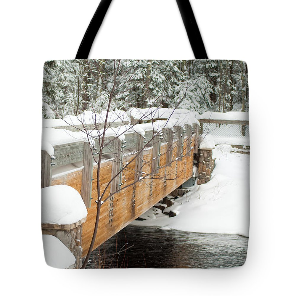 Optical Playground By Mp Ray Tote Bag featuring the photograph Bond Falls Bridge by Optical Playground By MP Ray