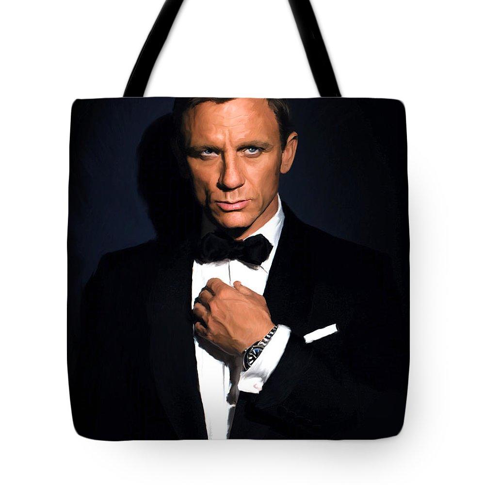 Daniel Tote Bag featuring the painting Bond - Portrait by Paul Tagliamonte