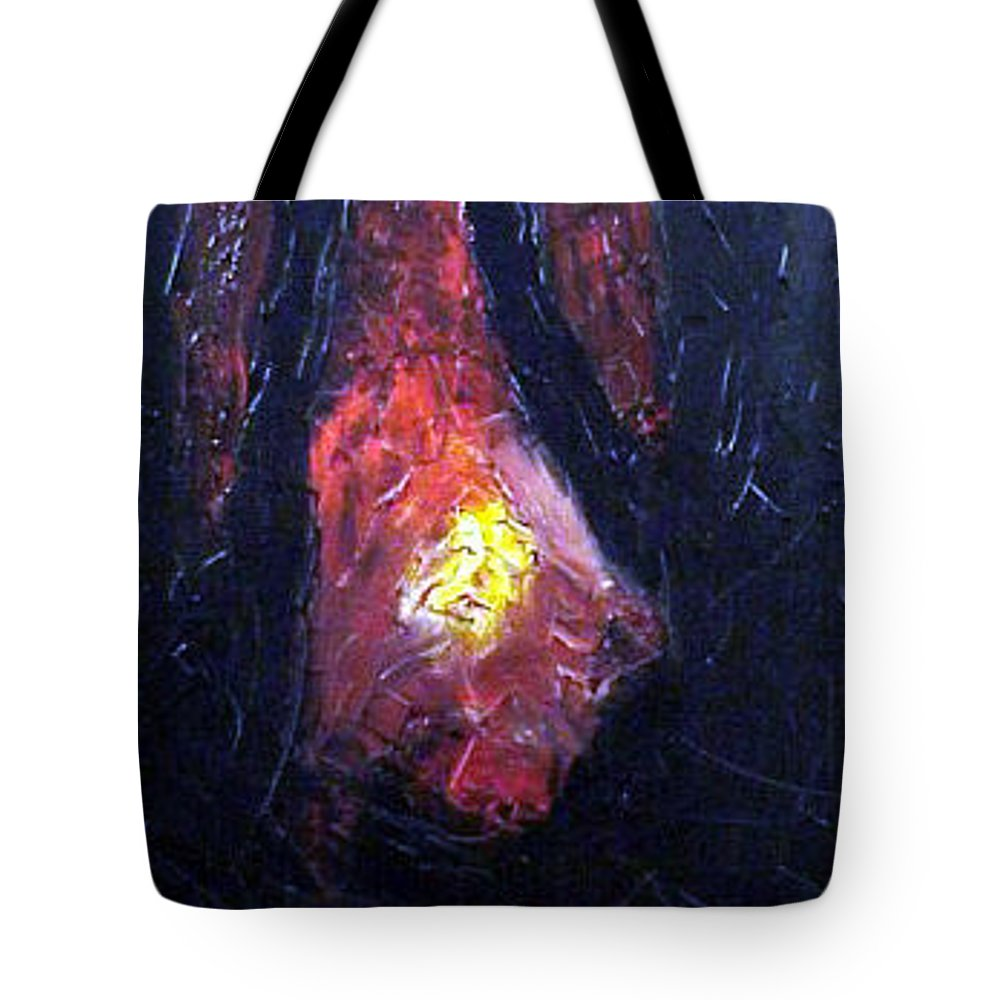 Landscape Tote Bag featuring the painting Bonefire by Sergey Bezhinets
