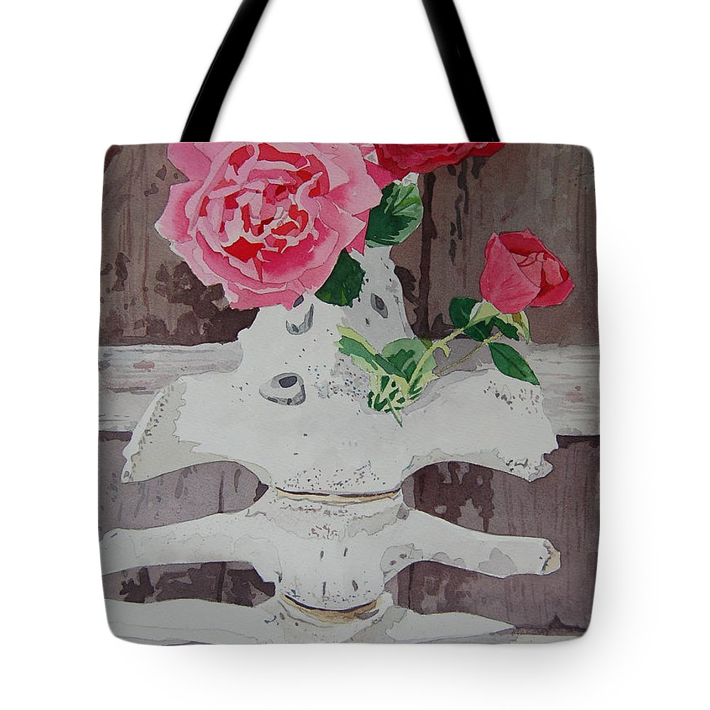Nature Tote Bag featuring the painting Bones And Roses by Terry Holliday
