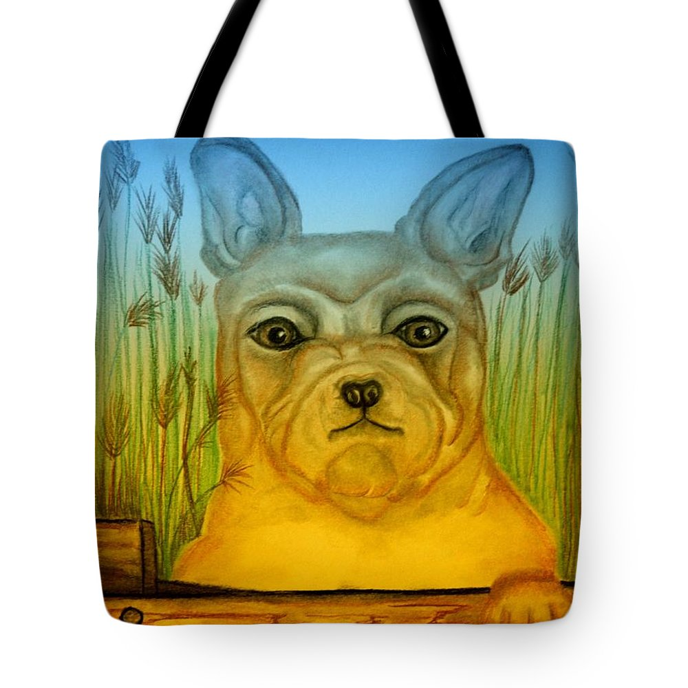 Bonjour Tote Bag featuring the pastel Bonjour by Maria Urso