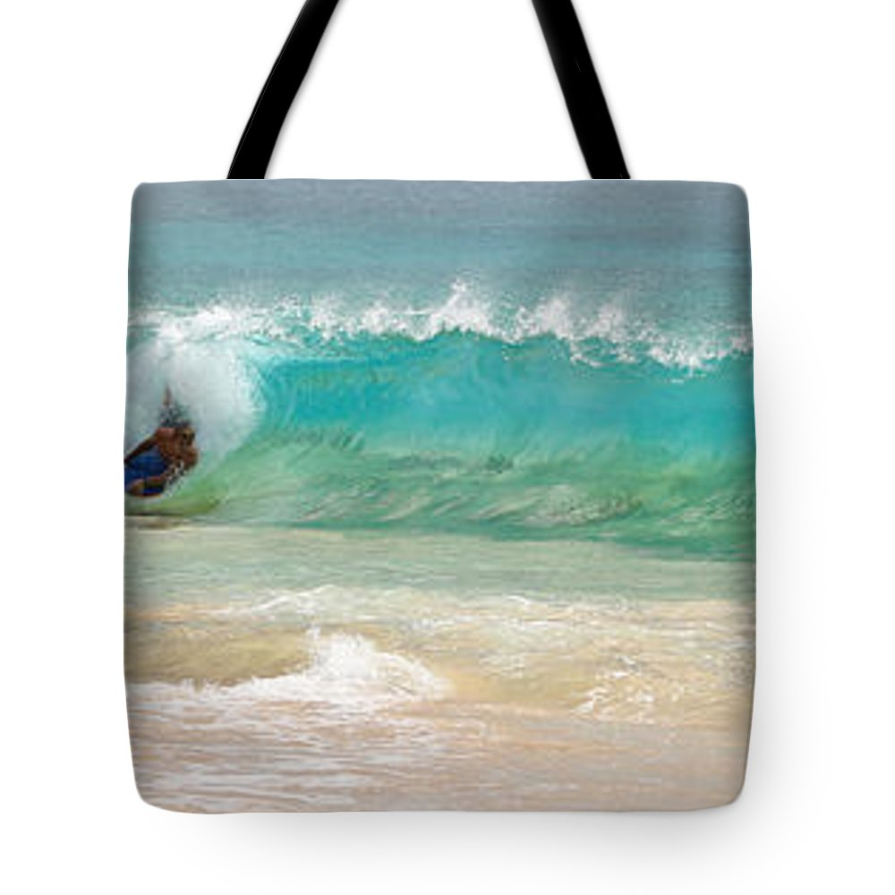 Boogie Board Tote Bag featuring the photograph Boogie Board Surfing by Athena Mckinzie