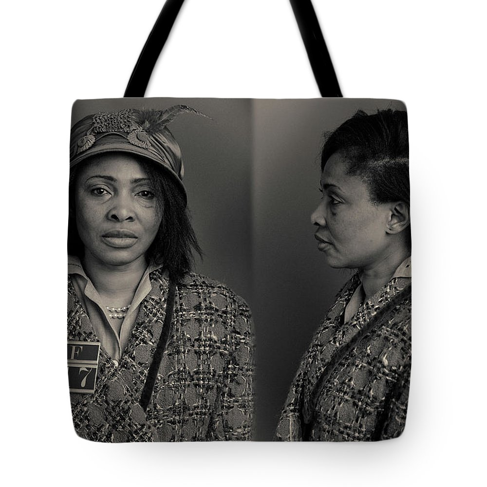Guilt Tote Bag featuring the photograph Bookie Wanted Mugshot by Nick Dolding