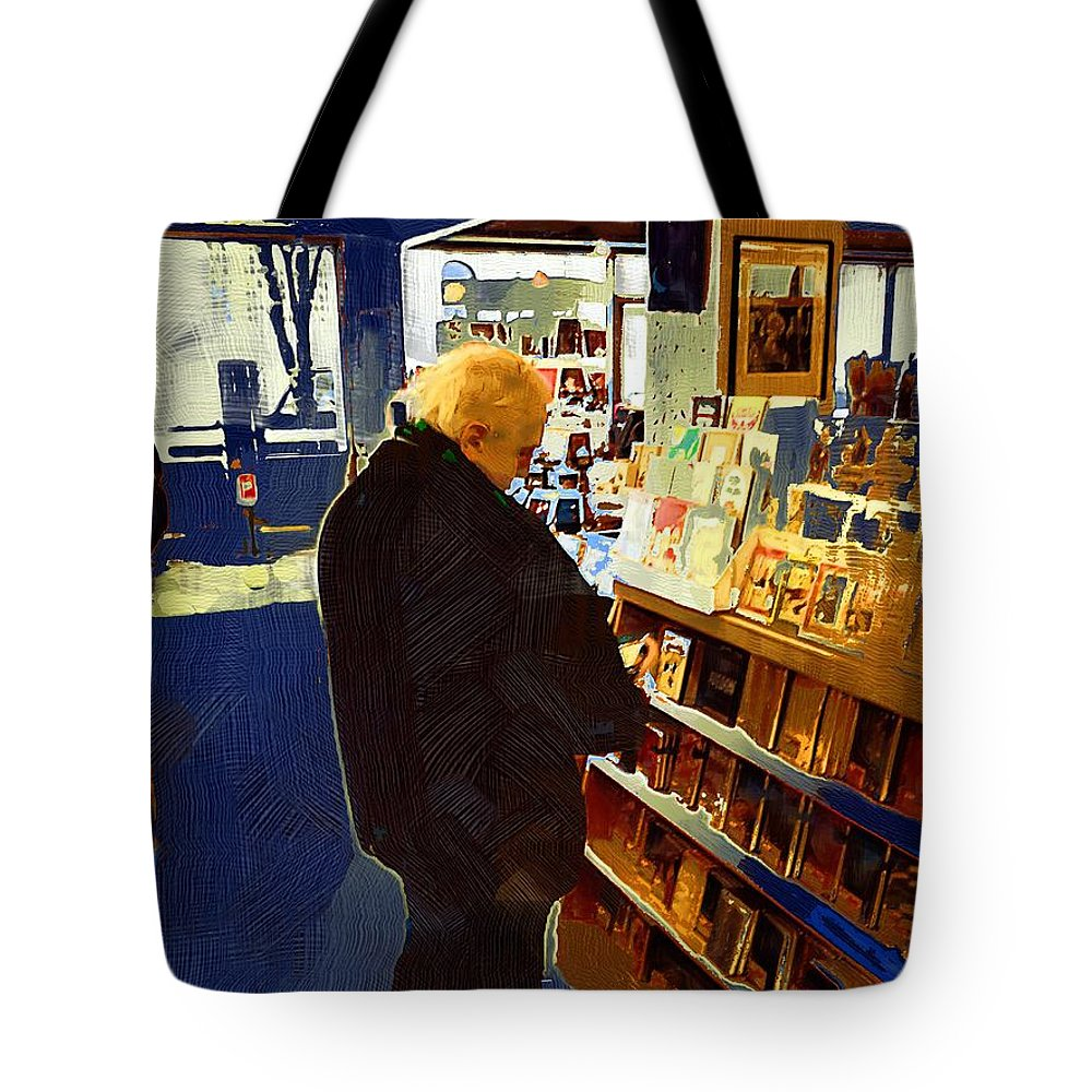 Man Tote Bag featuring the painting Bookstore Dreamer by RC DeWinter