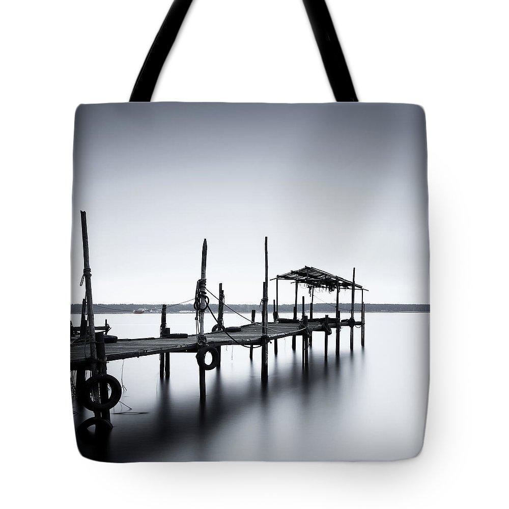 Tranquility Tote Bag featuring the photograph Bootssteg Im Alten Hafen Klein Zicker by Spreephoto.de