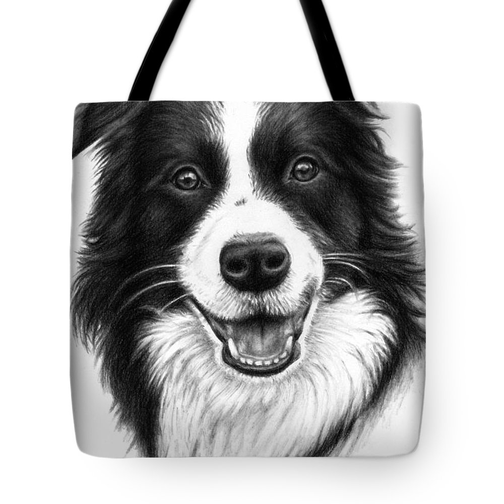 Dog Tote Bag featuring the drawing Border Collie by Nicole Zeug