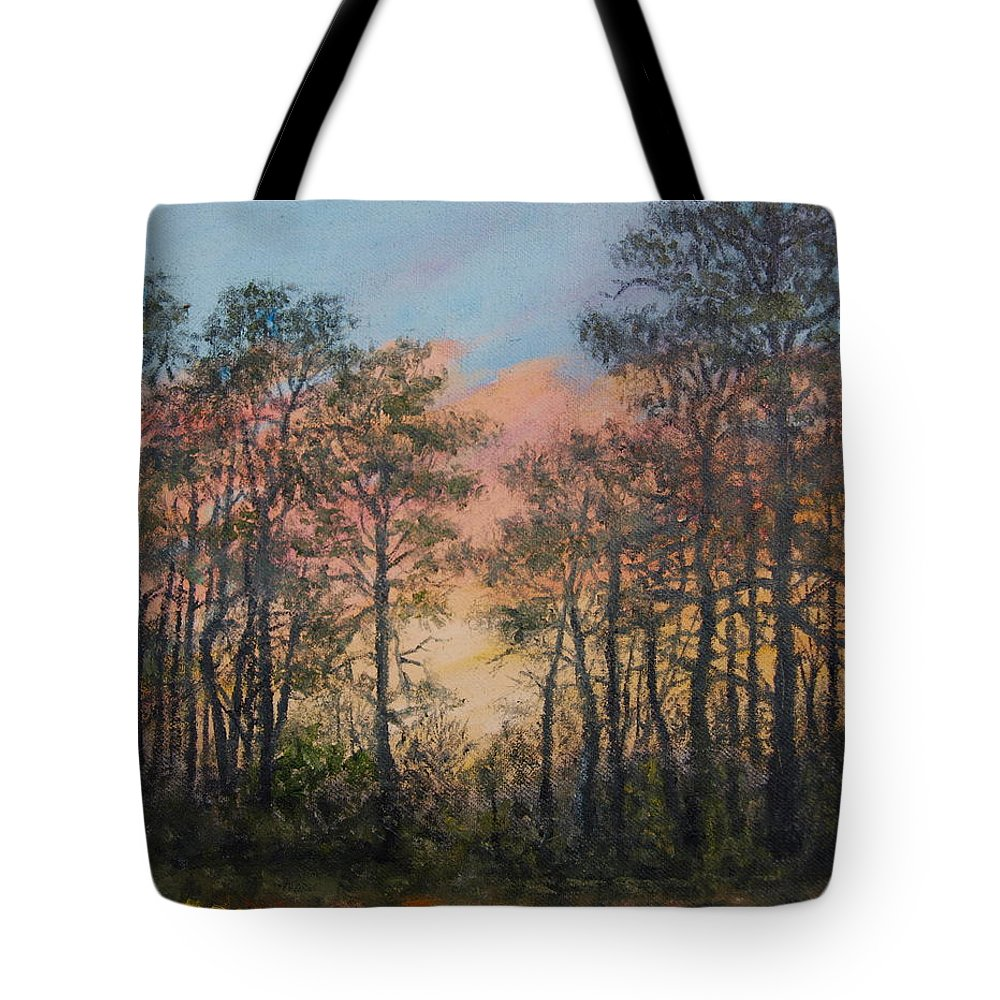 Skyscape Tote Bag featuring the painting Border Pines by Kathleen McDermott