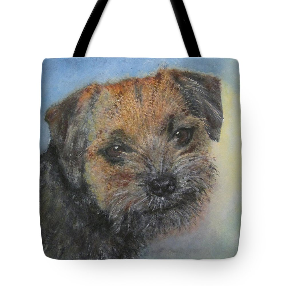 Dog Tote Bag featuring the painting Border Terrier Jack by Richard James Digance