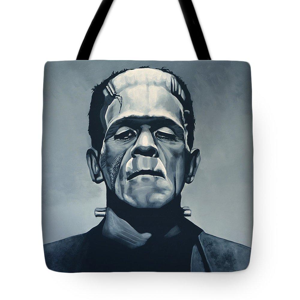 Frankenstein Tote Bag featuring the painting Boris Karloff As Frankenstein by Paul Meijering