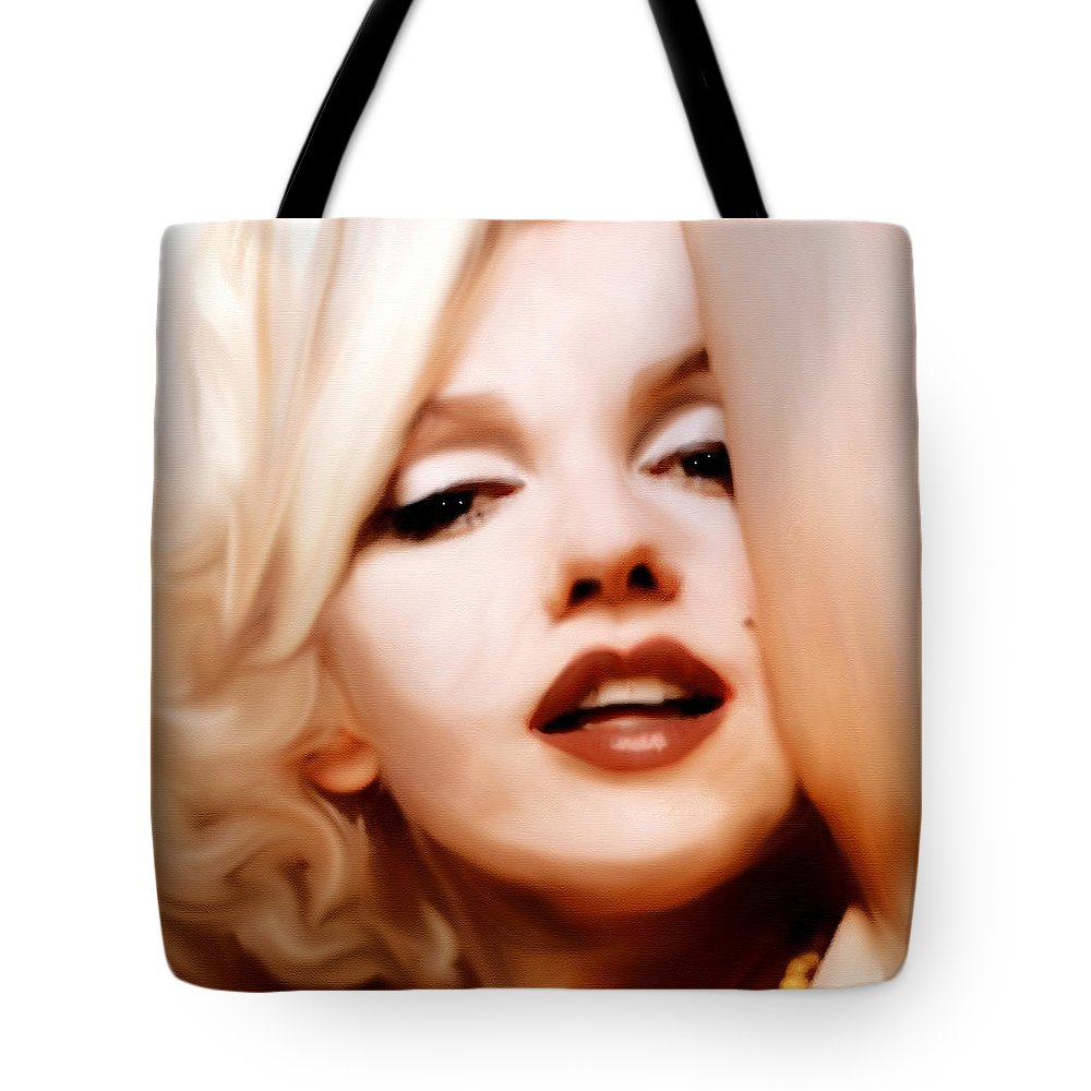 Mixed Media Tote Bag featuring the mixed media Born Blonde - Or Was She? by Georgiana Romanovna