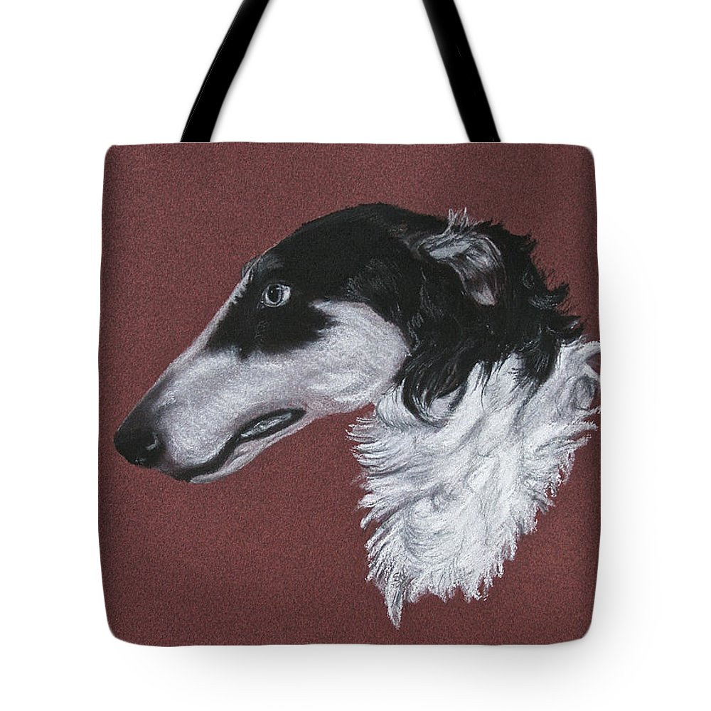 Borzoi Tote Bag featuring the drawing Borzoi by Susan Herber