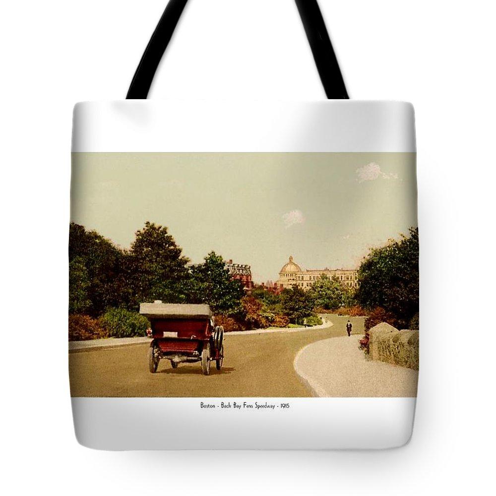 Boston Tote Bag featuring the digital art Boston - Back Bay Fens Speedway - 1915 by John Madison