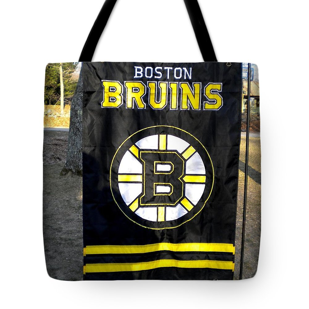 Boston Bruins Tote Bag featuring the photograph Boston Bruins Flag by Lisa Kilby