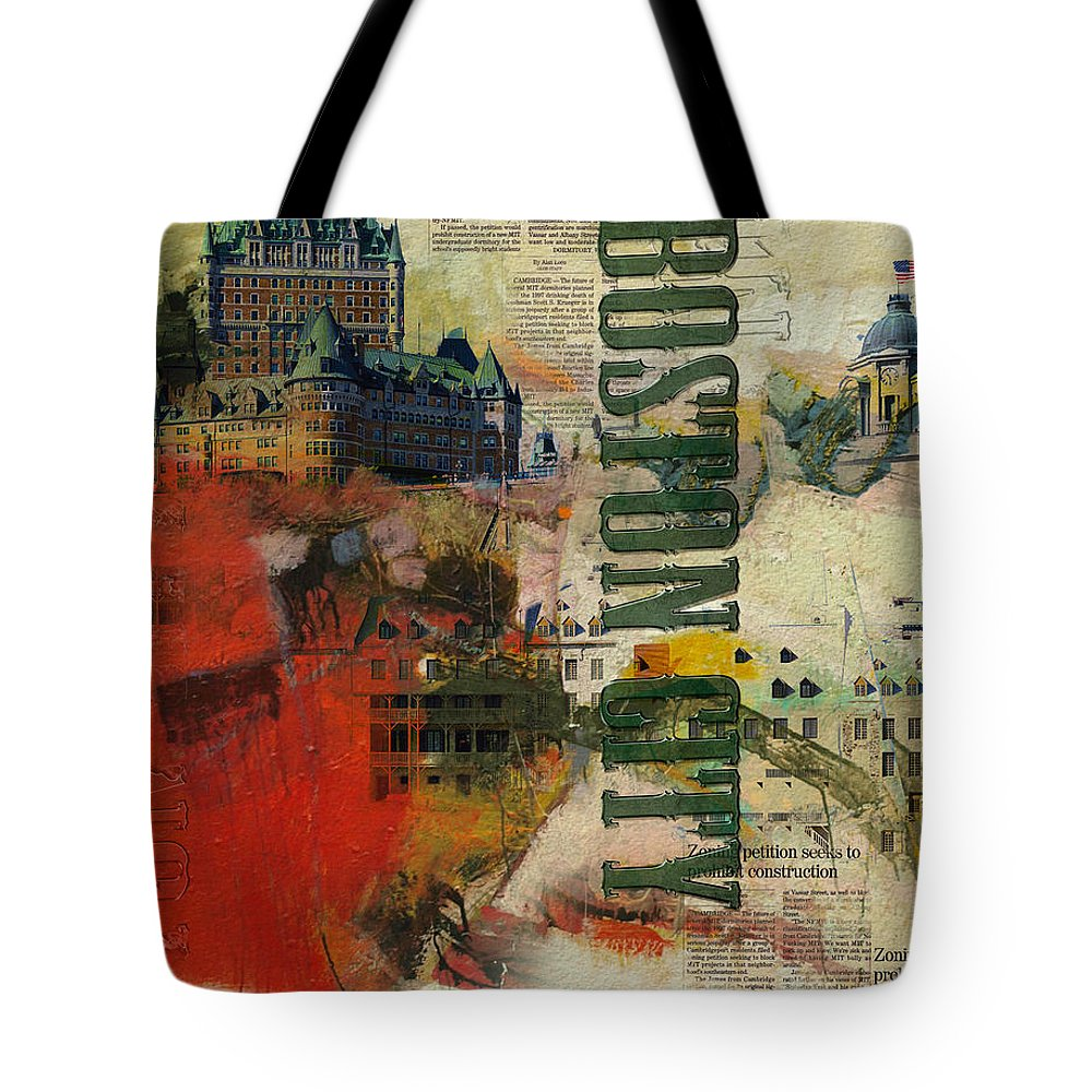 Boston City Tote Bag featuring the painting Boston Collage by Corporate Art Task Force
