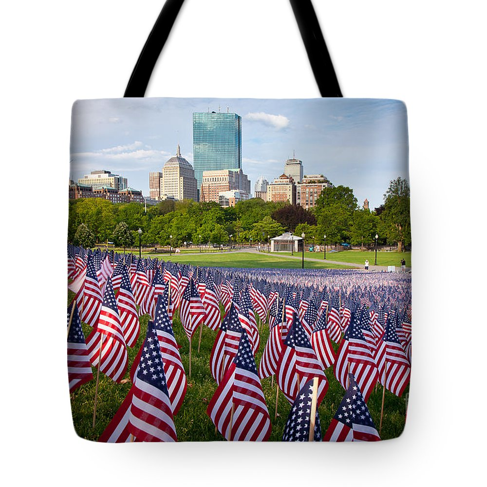 American Flag Tote Bag featuring the photograph Boston Common Flags by Susan Cole Kelly