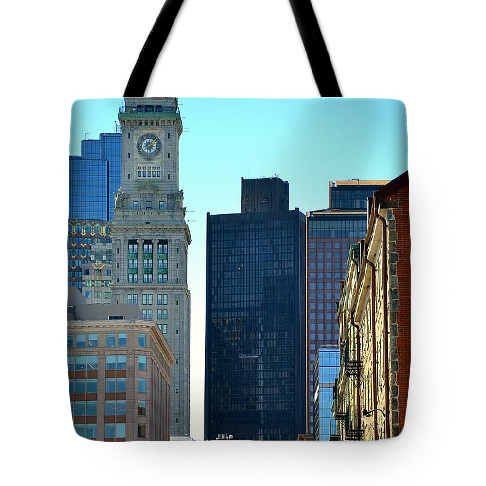 Boston Tote Bag featuring the photograph Boston Financial District by Corinne Rhode
