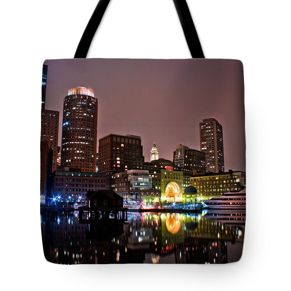 Boston Tote Bag featuring the photograph Boston Harbor At Night by John McGraw