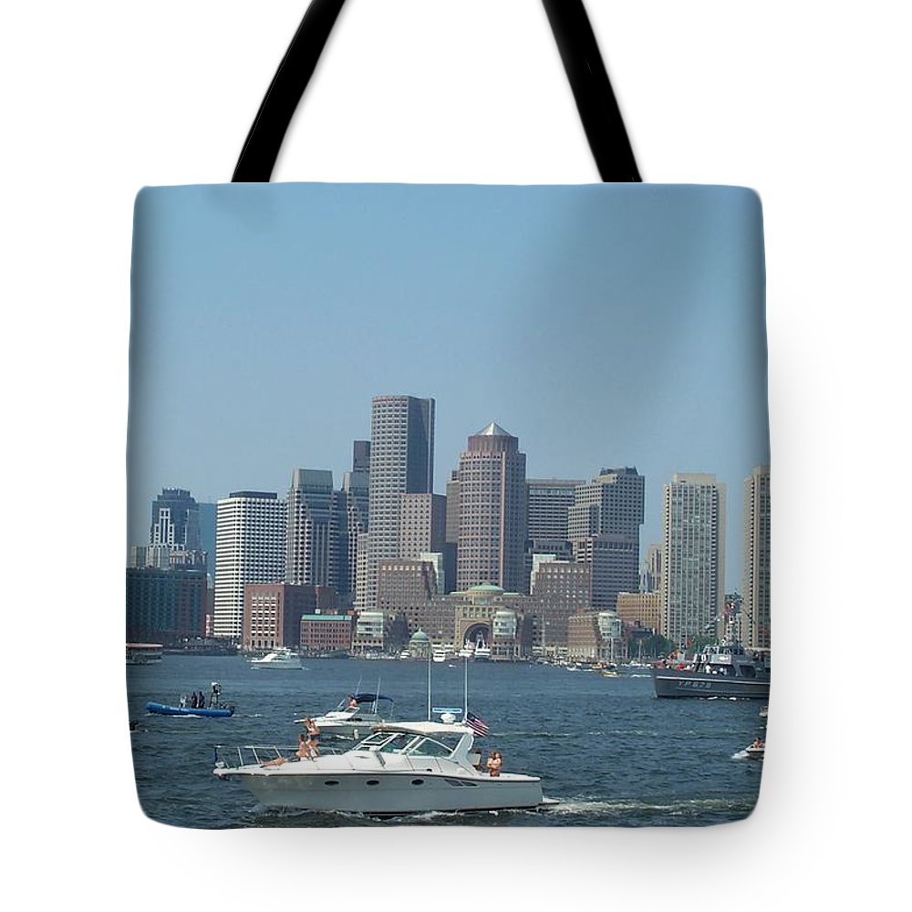 Boston Harbor Tote Bag featuring the photograph Boston Harbor July Fourth by Barbara McDevitt
