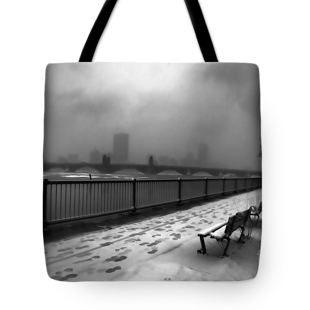 Snow Tote Bag featuring the photograph Boston Longfellow Bridge-snow Cityscape V3 by Douglas Barnard