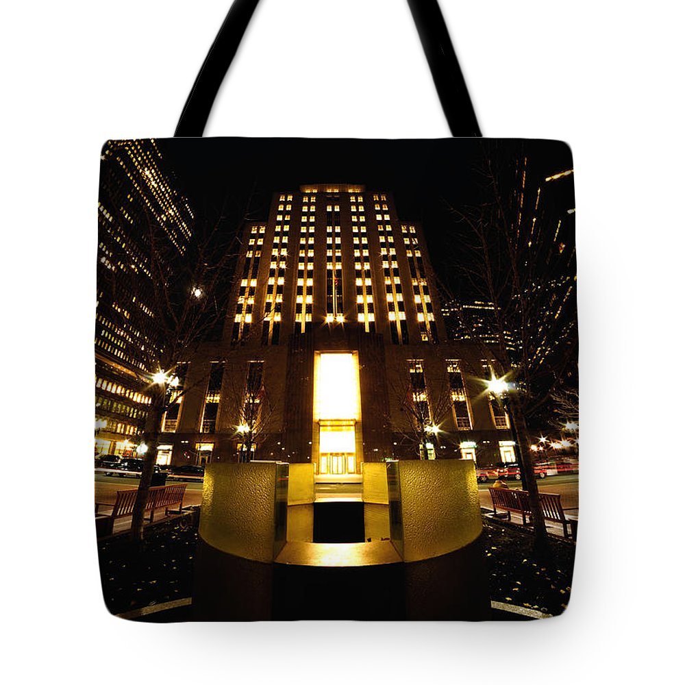 Boston Tote Bag featuring the photograph Boston - Night At Post Office Square by Mark Valentine
